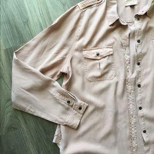 Women's Blush Pink Soft Long Sleeve Button Up